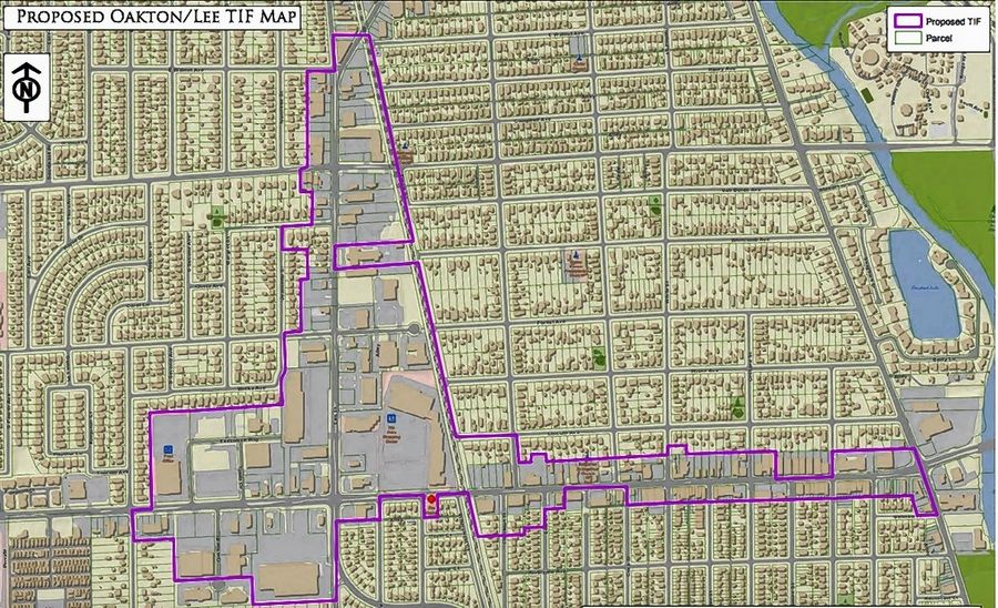 "A map shows the area surrounding Oakton and Lee streets in Des Plaines where city officials authorized a new tax increment financing district they hope will help spur the development of a ""second downtown."""