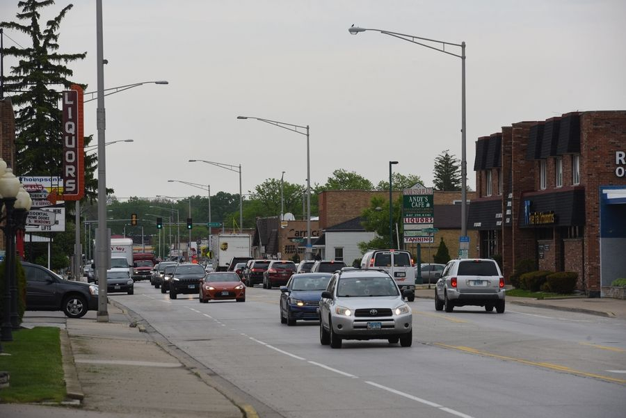"Businesses line Oakton Street in Des Plaines, where city officials hope to spur development of a ""second downtown."""