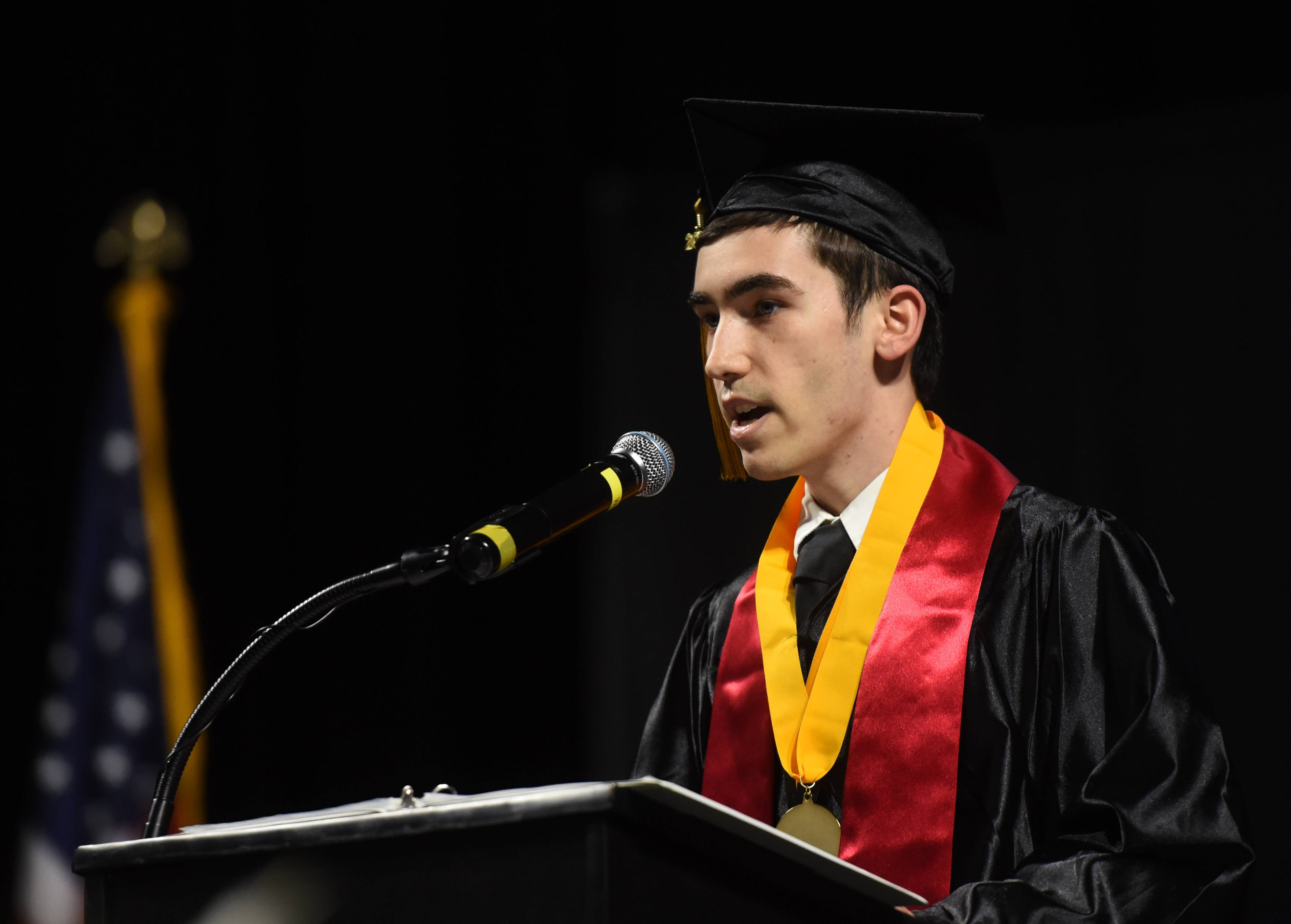 Valedictorian William Morgan speaks during the Streamwood High School graduation at the Sears Centre in Hoffman Estates Saturday.