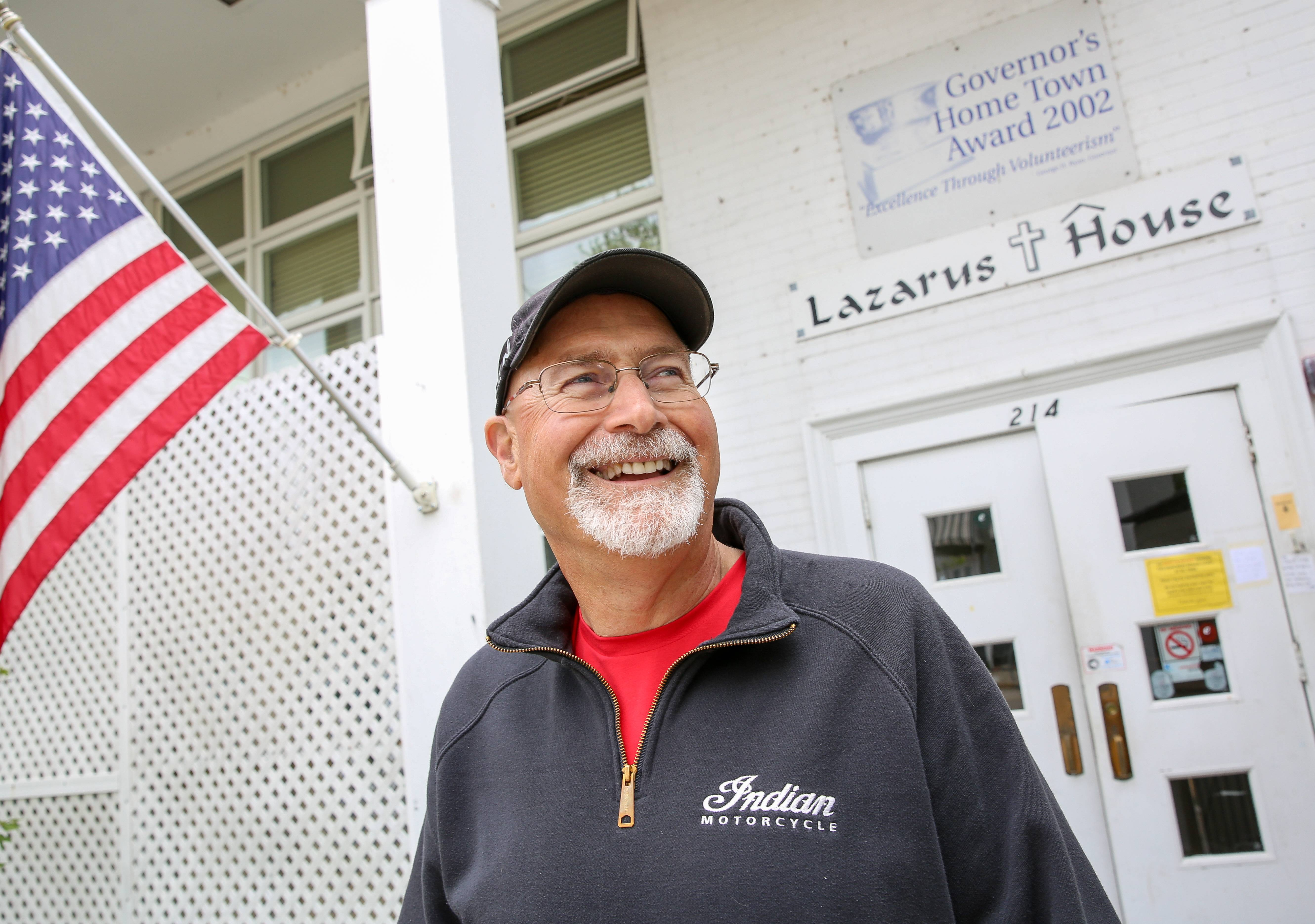 Jim Aikens is a volunteer at Lazarus House in St. Charles.
