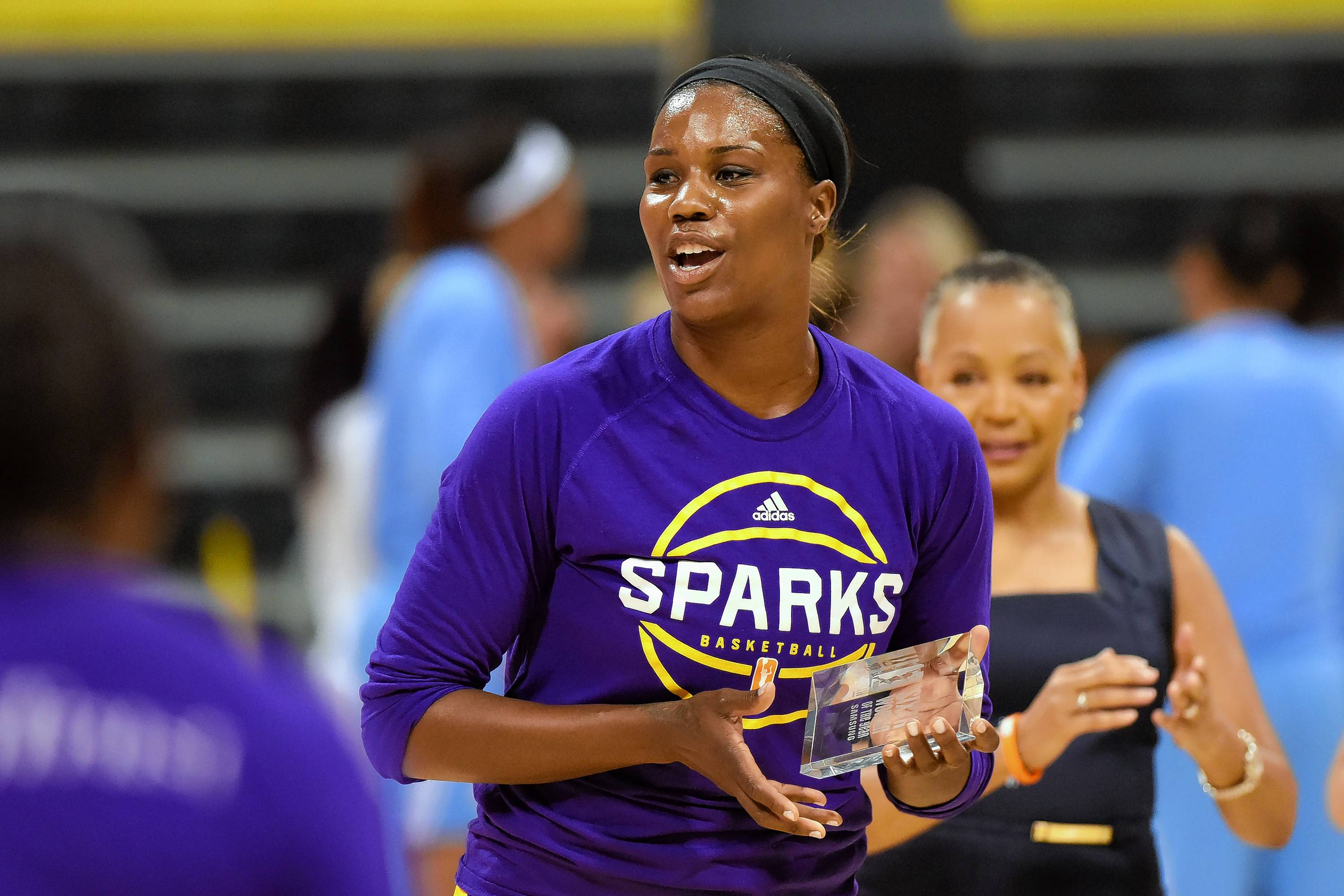 Newly acquired Sky center Jantel Lavender, seen here in 2016 winning the WNBA's Sixth Woman Of The Year trophy as a member of the Los Angeles Sparks, is excited to play closer to family in Cleveland.