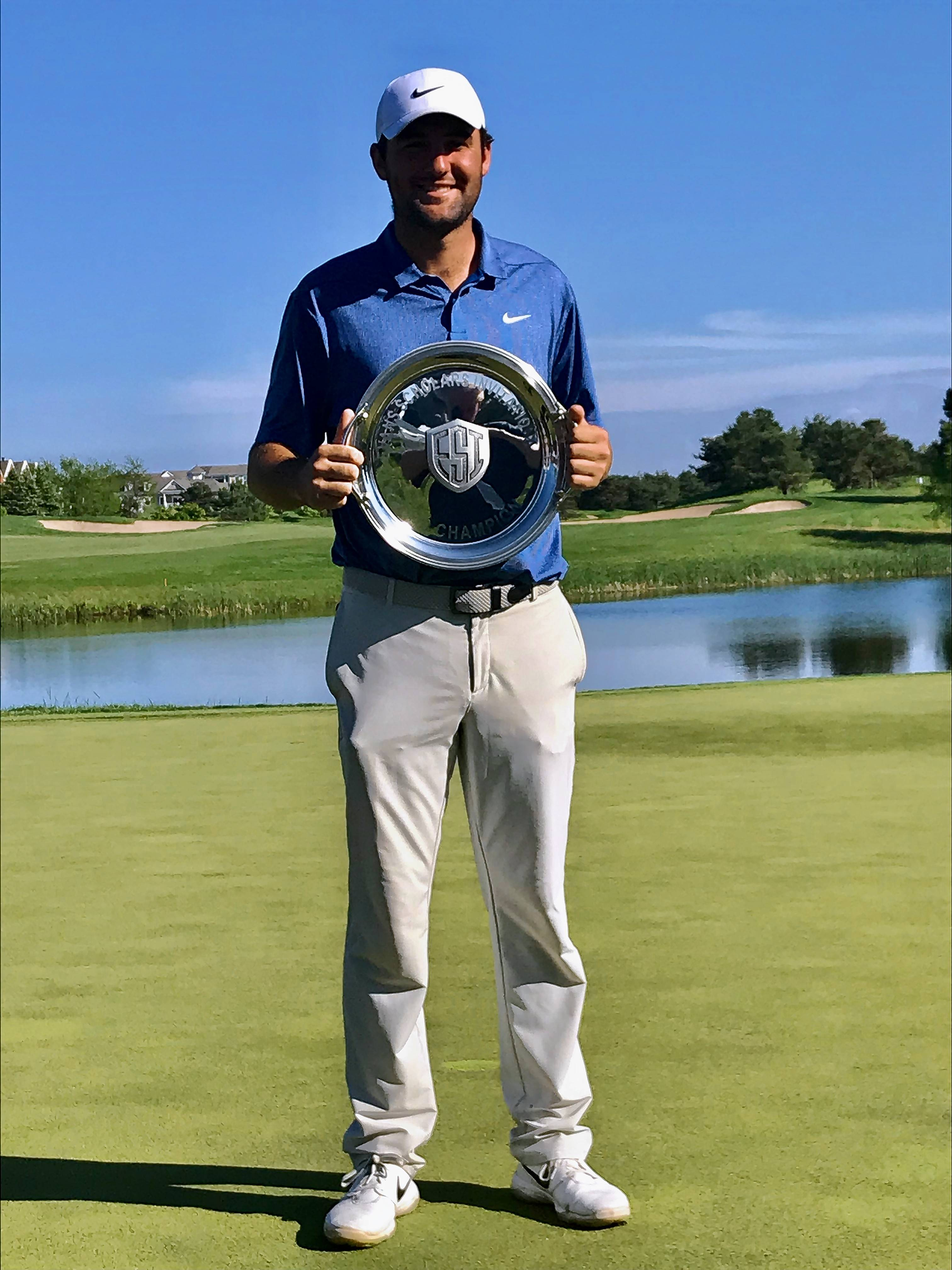 Scottie Scheffler II poses with the trophy after winning the Web.com Tour's Evans Scholar Invitational on Sunday at The Glen Club.