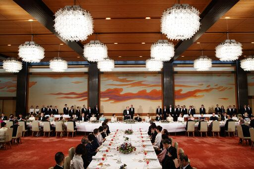 U.S. President Donald Trump speaks during a State Banquet hosted by Japanese Emperor Naruhito at the Imperial Palace, Monday, May 27, 2019, in Tokyo.