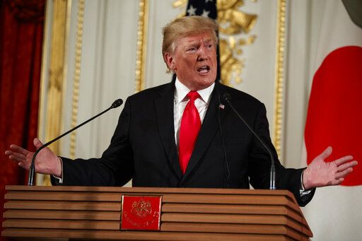 President Donald Trump speaks during a news conference with Japanese Prime Minister Shinzo Abe, at Akasaka Palace, Monday, May 27, 2019, in Tokyo.