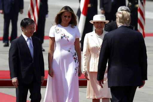President Donald Trump and first lady Melania Trump participate with Japanese Emperor Naruhito and Japanese Empress Masako during an Imperial Palace welcome ceremony at the Imperial Palace, Monday, May 27, 2019, in Tokyo.