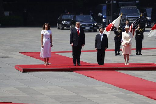 President Donald Trump and first lady Melania Trump participate with Japanese Emperor Naruhito and Empress Masako during an Imperial Palace welcome ceremony at the Imperial Palace, Monday, May 27, 2019, in Tokyo.