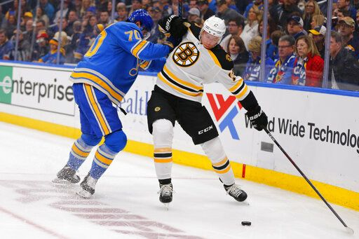 FILE - In this Feb. 23, 2019, file photo, Boston Bruins' Charlie Coyle (13) tries to avoid a check from St. Louis Blues' Oskar Sundqvist (70), of Sweden, during the first period of an NHL hockey game in St. Louis. Game 1 of the Stanley Cup finals between the Bruins and Blues is Monday, May 27.