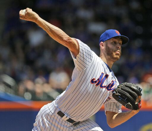 New York Mets starting pitcher Zack Wheeler throws during the first inning of a baseball game against the Detroit Tigers at Citi Field, Sunday, May 26, 2019, in New York.