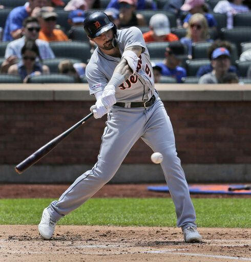 Detroit Tigers' Nicholas Castellanos hits two-run single during the third inning of a baseball game against the New York Mets at Citi Field, Sunday, May 26, 2019, in New York.