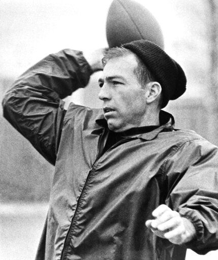 FILE - In this Dec. 29, 1965, file photo, Green Bay Packer's quarterback Bart Starr throws a pass during practice in Green Bay, Wisc. Starr, the Green Bay Packers quarterback and catalyst of Vince Lombardi's powerhouse teams of the 1960s, has died. He was 85. The Packers announced Sunday, May 26, 2019, that Starr had died, citing his family. He had been in failing health since suffering a serious stroke in 2014.