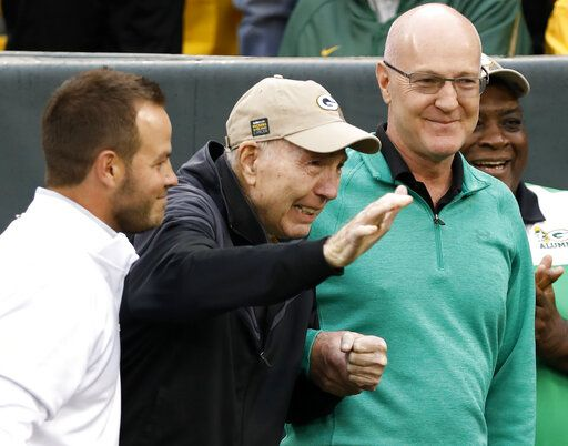 FILE - In this Oct. 22, 2017, file photo, former Green Bay Packers Hall of Fame quarterback Bart Starr waves to fans as he attends the 50th anniversary of Green Bay's 1967 championship team during the first half of NFL football game between the Green Bay Packers and the New Orleans Saints, in Green Bay, Wis. Starr, the Green Bay Packers quarterback and catalyst of Vince Lombardi's powerhouse teams of the 1960s, has died. He was 85. The Packers announced Sunday, May 26, 2019, that Starr had died, citing his family. He had been in failing health since suffering a serious stroke in 2014.