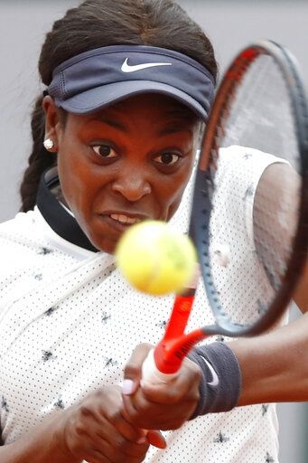 Sloane Stephens of the U.S. plays a shot against Japan's Misaki Doi during their first round match of the French Open tennis tournament at the Roland Garros stadium in Paris, Sunday, May 26, 2019.