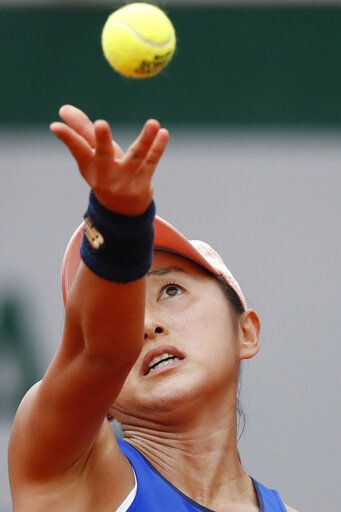 Japan's Misaki Doi serves against Sloane Stephens of the U.S. during their first round match of the French Open tennis tournament at the Roland Garros stadium in Paris, Sunday, May 26, 2019.
