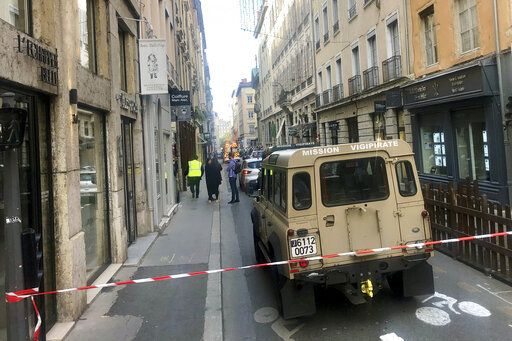 "A vehicle of French anti terrorist plan ""Vigipirate Mission"", is seen near the site of a suspected bomb attack in central Lyon, Friday May, 24, 2019. A small explosion Friday on a busy street in the French city of Lyon lightly injured several people, local officials said."