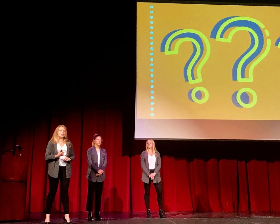 St. Charles North students Maddie Solomon, Cece Wahlberg and Ashlyn Aichele present the business plan for their startup, Right On Time, during Tuesday's INCubatoredu Final Pitch Night.