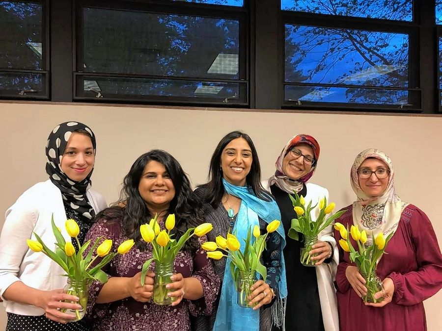 Event co-hosts included, from left, Rasha Ali (Des Plaines), Nikita Desai (South Barrington), Anisha Ismail Patel (Arlington Heights), Farah Abid (South Barrington) and Ikbal Koseli (Arlington Heights). Not pictured is Naazish Yarkhan (Glendale Heights).