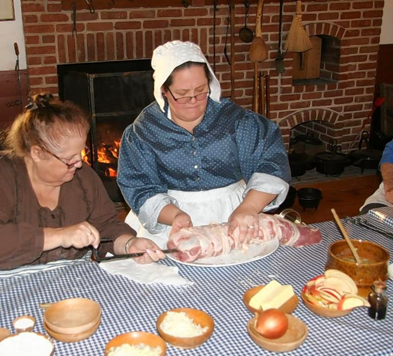 Julia Bizub, right, with help from her mother, Robin Beaver, will conduct the June 1 Hearthside Cooking Seminar at Garfield Farm Museum.