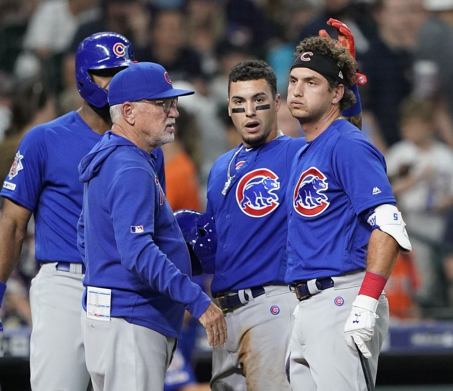 The Cubs' Albert Almora Jr. hit a foul ball that struck a young girl in the stands Wednesday in Houston. Almora was visibly shaken and talked to by Jason Heyward, manager Joe Maddon and Javier Baez.