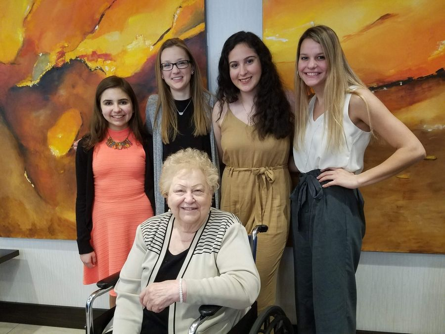 Rosemary Argus executive director of the Foundation is pictured with the four 2019 winners; (left to right) Sophia Panfil from Elk Grove High school; Samantha Parcell from Maine West High School, Arline Vargas from Maine West High School and Jillian Valente from Elk Grove High School. They were chosen out of more than 38 applicants who applied in the 2018 school year from all the high schools with students living in Des Plaines.Aimee DeBat/Tim Panfil