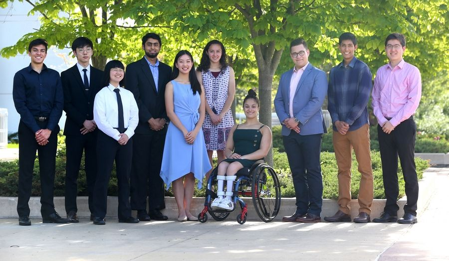 The 10 members of the 2018-19 DuPage County Academic Team are, from left: Ashwin Saxena, Metea Valley High School; Soomin Kim, Waubonsie Valley High School; Karen Ge, Naperville North High School; Sulaiman Sajed, College Preparatory School of America; Emily Mao, Lisle High School; Sarah Kulkarni, Wheaton Warrenville South High School; Ahalya Lettenberger, Glenbard West High School; Gino Kozel, Benet Academy; Akshay Dugar, Neuqua Valley High School and Alex Trickey, Naperville Central High School.