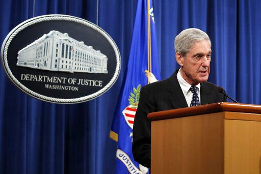 Special counsel Robert Mueller speaks at the Department of Justice Wednesday, May 29, 2019, in Washington, about the Russia investigation.