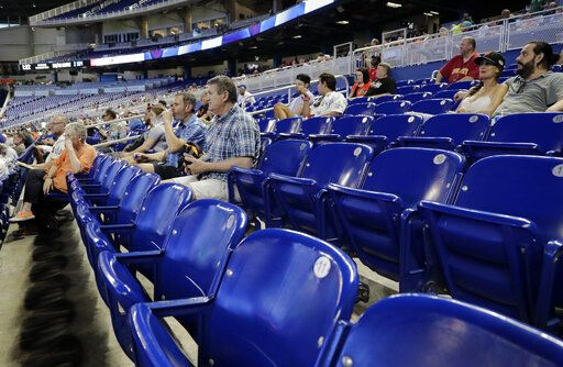 4d66e3213 Fans watch a baseball game between the Miami Marlins and San Francisco  Giants, Thursday,