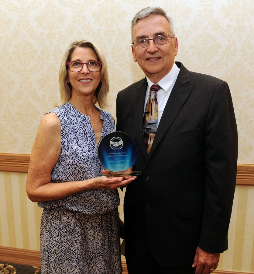 Dave Whitney, pictured with his wife Sally, was given the Community Leader of the Year award Thursday at the Rolling Meadows Chamber of Commerce Circle of Success recognition dinner.