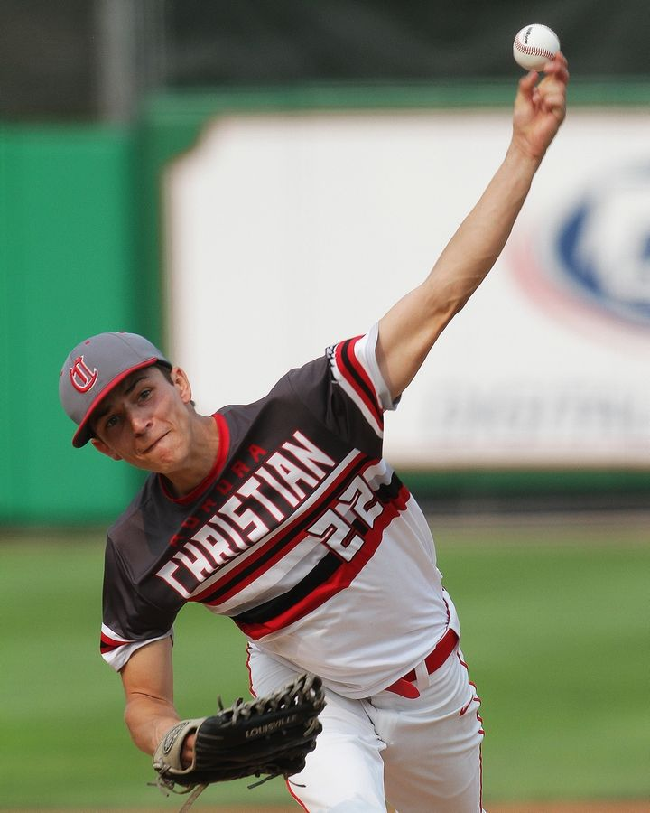 Aurora Christian's MJ Stavola tosses a pitch in the second inning of their Class 2A state semifinal baseball game against Pleasant Plains. The Eagles advance to Saturday's IHSA third place contest after falling to the Cardinals, 6-3.