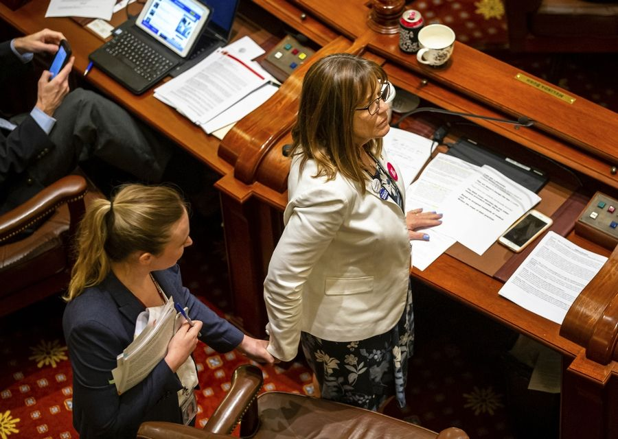 Sen. Melinda Bush, right, D-Grayslake, holds hands with staffer Mary Hanahan as she answers questions from the Republican side of the aisle during debate of the Reproductive Health Act, on the Senate floor at the State Capitol late Friday, May 31, 2019, in Springfield, Ill. (Justin L. Fowler/The State Journal-Register via AP)