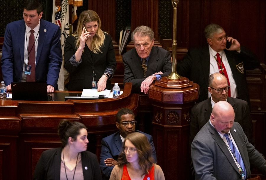 House Speaker Michael Madigan, top row, second from right, D-Chicago, listens to debate on the state budget in the House at the State Capitol, Friday, May 31, 2019, in Springfield, Ill. (Justin L. Fowler/The State Journal-Register via AP)