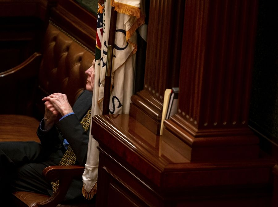 House Speaker Michael Madigan, D-Chicago, listens to debate on the state 2020 budget on the House floor at the State Capitol, Friday in Springfield.