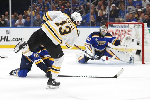 Boston Bruins center Charlie Coyle (13) scores a goal against St. Louis Blues goaltender Jordan Binnington (50) during the first period of Game 3 of the NHL hockey Stanley Cup Final Saturday, June 1, 2019, in St. Louis.