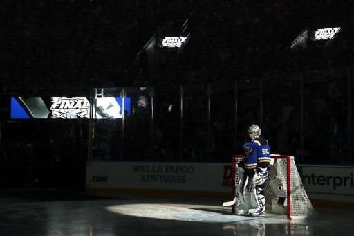 St. Louis Blues goaltender Jordan Binnington is introduced before Game 3 of the NHL hockey Stanley Cup Final between the Blues and the Boston Bruins Saturday, June 1, 2019, in St. Louis.