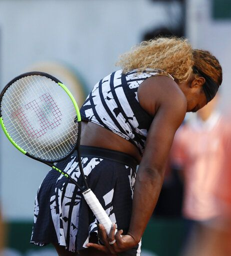 Serena Williams of the U.S. reacts after missing a shot against Sofia Kenin of the U.S. during their third round match of the French Open tennis tournament at the Roland Garros stadium in Paris, Saturday, June 1, 2019.