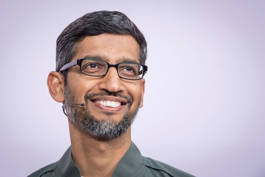 Sundar Pichai, chief executive officer of Google, at the Google I/O Developers Conference in Mountain View, Calif., on May 7, 2019.