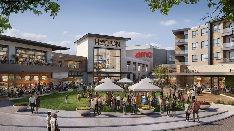 Centennial's concept plan for redeveloping Hawthorn Mall in Vernon Hills includes an outdoor plaza area. An informal discussion of the plans will take place at 6:30 p.m. Tuesday at Barbara's Bookstore at the mall.