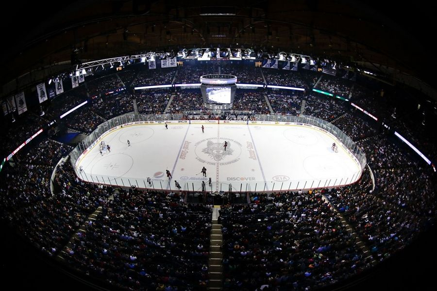 The 18,500-seat capacity Allstate Arena in Rosemont is certainly big enough to host sports betting -- under terms of state legislation -- but the bill also requires a professional team to be housed there. Village officials believe the AHL's Chicago Wolves qualify.