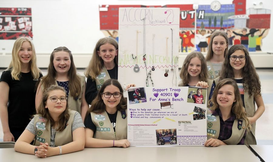 Girl Scout Troop 40901 made and sold jewelry to raise money for a bench to be installed at nearby Pioneer Park in memory of classmate Anna Hrtanek, who died in 2018.