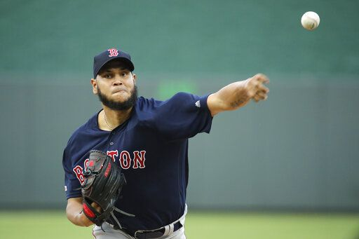Boston Red Sox starting pitcher Eduardo Rodriguez throws during the first inning of a baseball game against the Kansas City Royals Tuesday, June 4, 2019, in Kansas City, Mo.