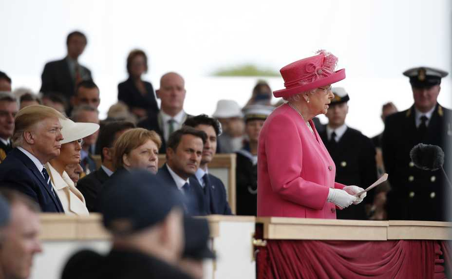 c3d86ebc57e1 Queen Elizabeth II speaks Wednesday during an event to mark the 75th  anniversary of D-