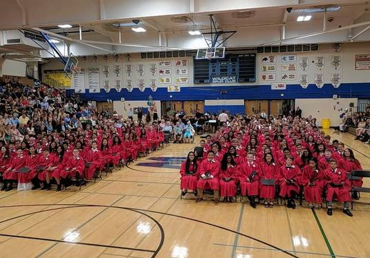 Dressed in red gowns, students who completed eighth grade at MacArthur Middle School in Prospect Heights Elementary District 23 participate last year in a traditional promotion ceremony at Wheeling High School. The school gives a certificate of promotion to each student who completes eighth grade and requires students to wear gowns, but not caps, for the celebration.