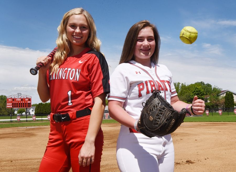 Kendall Peterson of Barrington, left, and Grace Huff of Palatine are the Daily Herald All-Area Softball Team Captains for the Northwest suburbs.