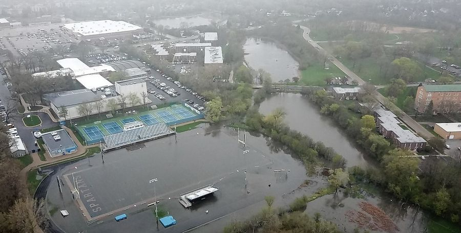 An April 29 photo taken by drone shows flooding on the field at St. Francis' Kuhn Memorial Stadium in Wheaton. Deemed unsafe for competition in late 2018, the field was unavailable for spring sports due to continued flooding that postponed efforts to correct the problem.