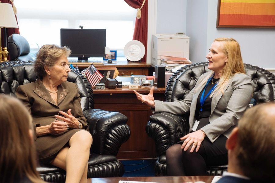 Rep. Jan Schakowski (left), who represents Illinois' 9th congressional district in the U.S. House of Representatives, listens to Finds for You owner Karen Lesak during a meeting in her Washington, DC office on May 8.eBay