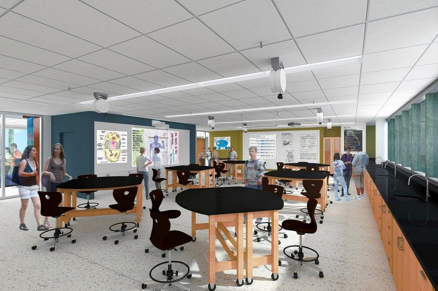 The three-story expansion to the East Building at Stevenson High School will contain classrooms, breakout spaces for small groups and other elements. Here's an architectural rendering of a classroom.