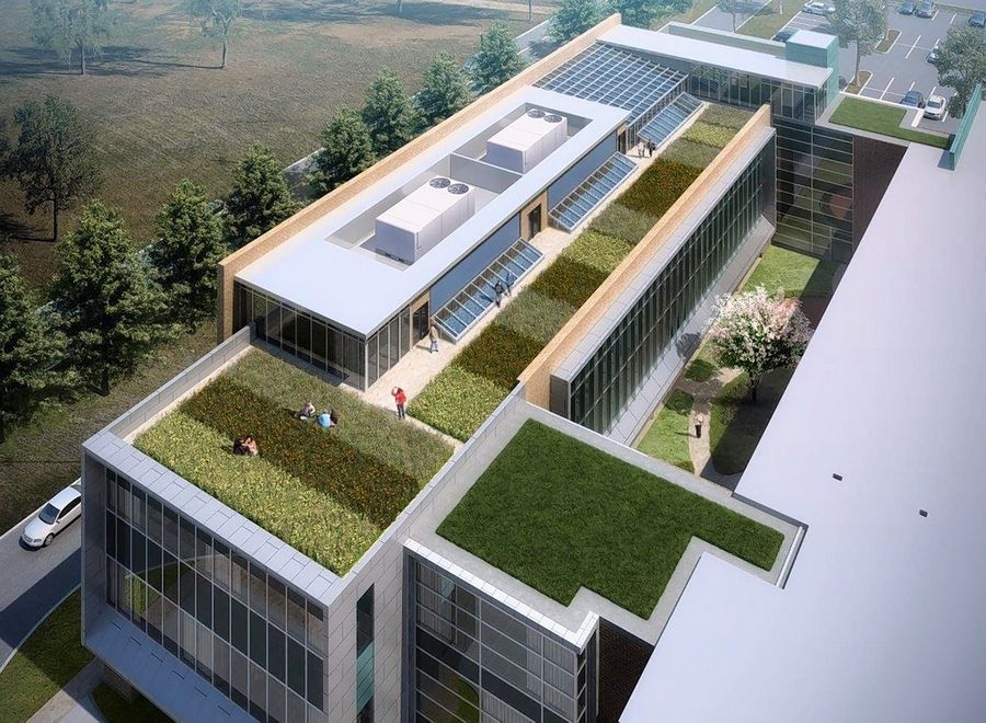 This architect's drawing depicts the green roof that will top the East Building expansion.