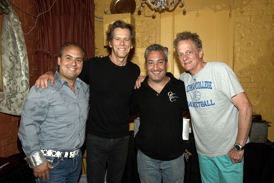 Ron Onesti, left, and his brother, Rich, second from right, meet the Bacon Brothers band and members Kevin, second form left, and Michael Bacon.