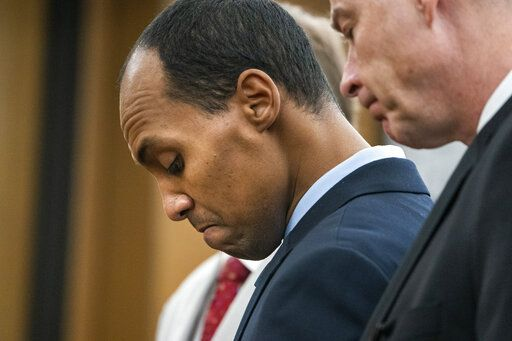"Former Minneapolis police officer Mohamed Noor reads a statement Friday, June 7, 2019, in Minneapolis, before being sentenced by Judge Kathryn Quaintance in the fatal shooting of Justine Ruszczyk Damond. Noor, convicted of shooting an unarmed woman to death as she walked toward his cruiser says he can't apologize enough ""for taking the life of a perfect person. He sentenced Friday to 121/2 years in prison for the shooting. (Leila Navidi//Star Tribune via AP, Pool)"