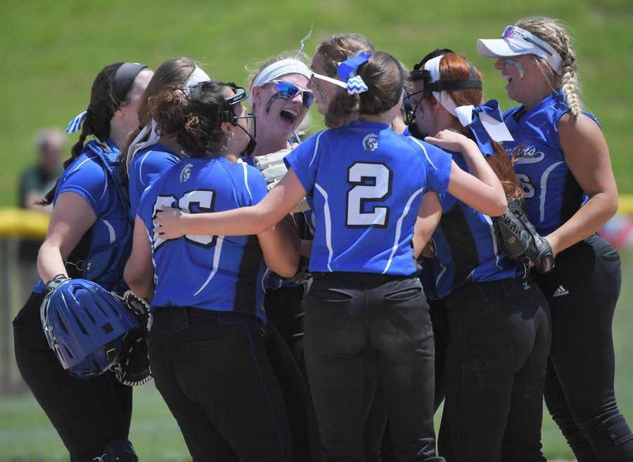 St. Francis celebrates their win against Bishop McNamara in the Class 3A state softball semifinal game in Peoria Friday.