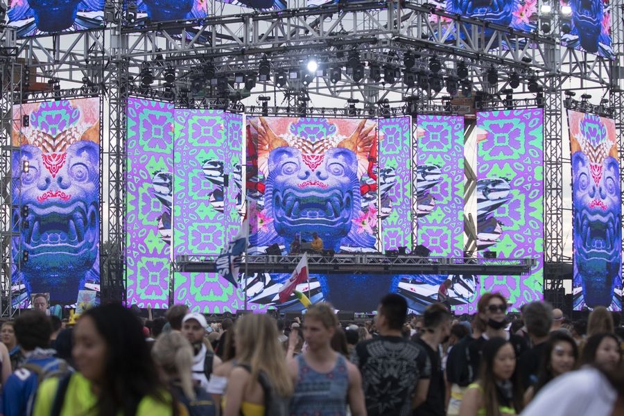 Visual animations are projected on a screen during What So Not's set at Day 2 of Spring Awakening Music Festival on Saturday in Hoffman Estates.